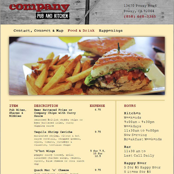 Company Pub and Kitchen Website